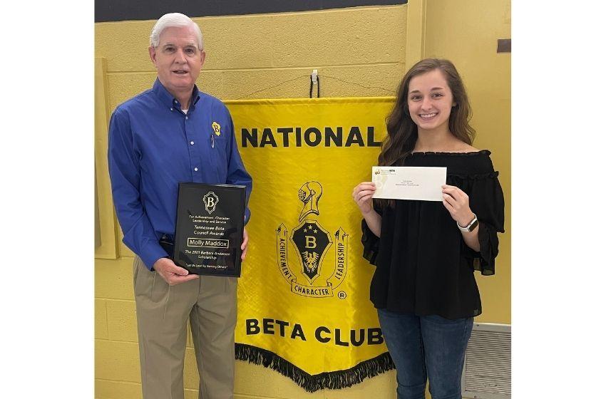 Molly Maddox receives $5,000 BETA scholarship